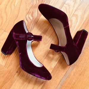 Marc Fisher Shaylie Round Toe Burgundy Mary Janes